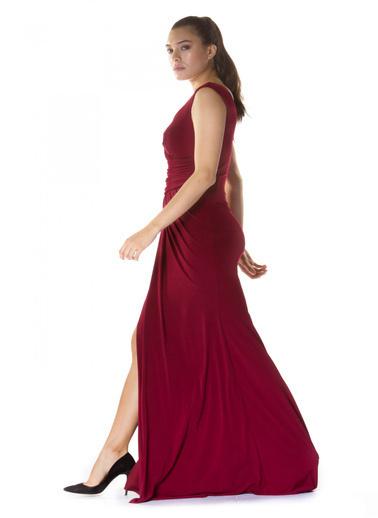 Pierre Cardin Bordo Sandy Yırtmaçlı Uzun Abiye Elbise Bordo